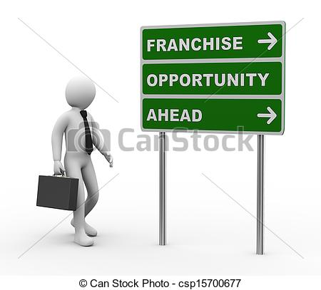 Stock Illustrations of 3d businessman franchise opportunities.