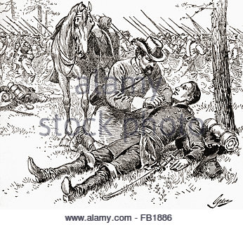 Union Soldiers During A Battle Of Gettysburg Reenactment Stock.