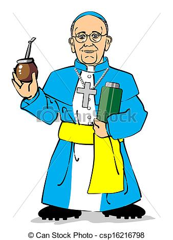 EPS Vectors of Pope Francis I drinking a mate.