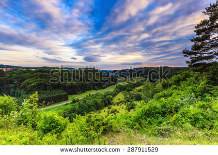 Stunning Summer Evening Landscape In The Rural Countryside Of.