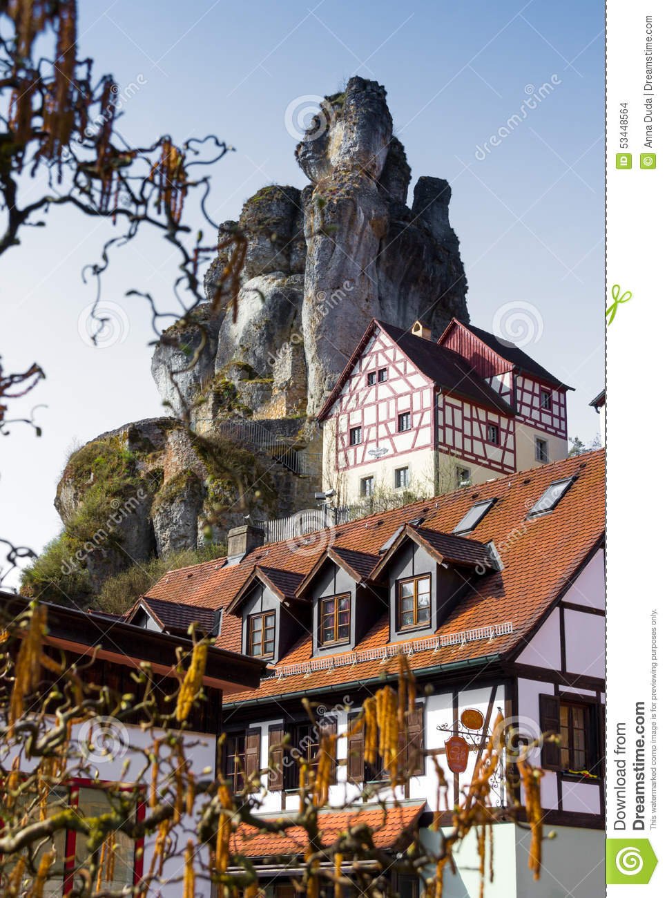 Rock Formations With Houses Franconian Switzerland Germany Stock.