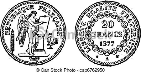 Vector Clipart of Gold coin of 20 francs, vintage engraving.