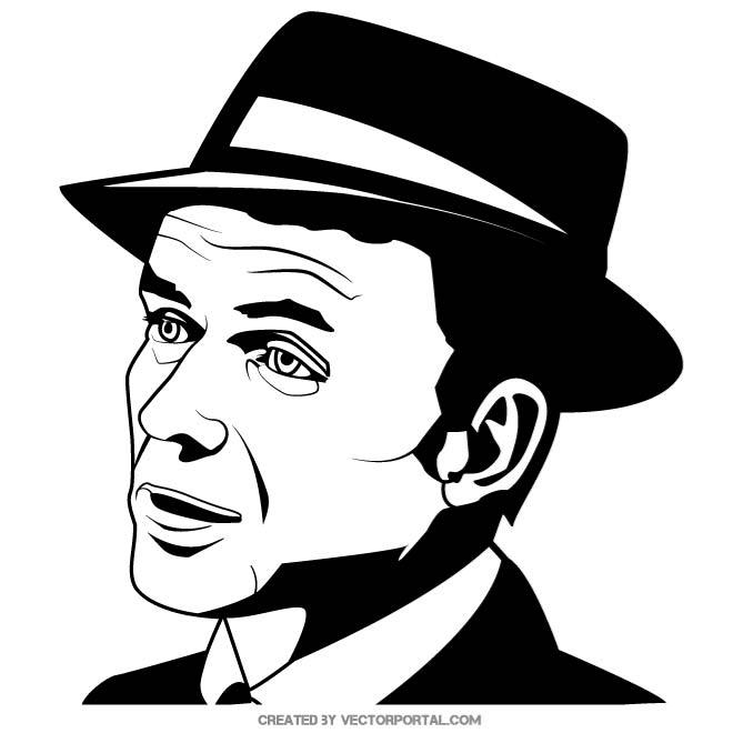 Frank Sinatra Portrait Free Vector.