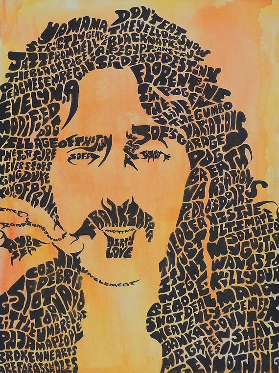 Items similar to Frank Zappa Painting Giclée Print Song Titles.