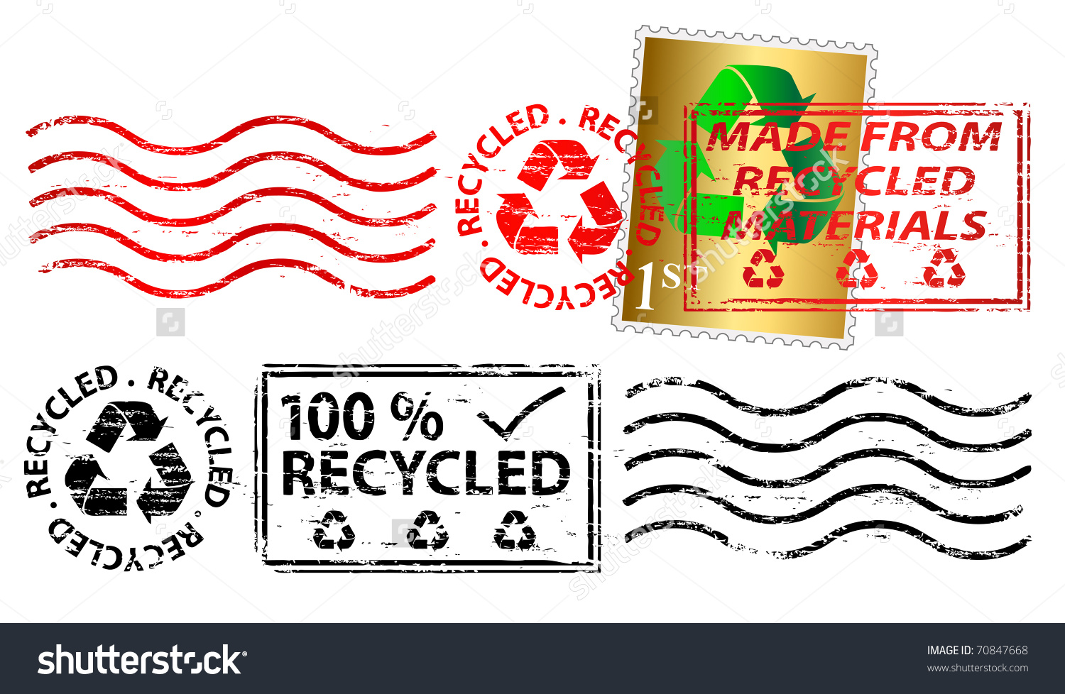 Recycling Letter Franking Mark Stamp Stock Vector 70847668.