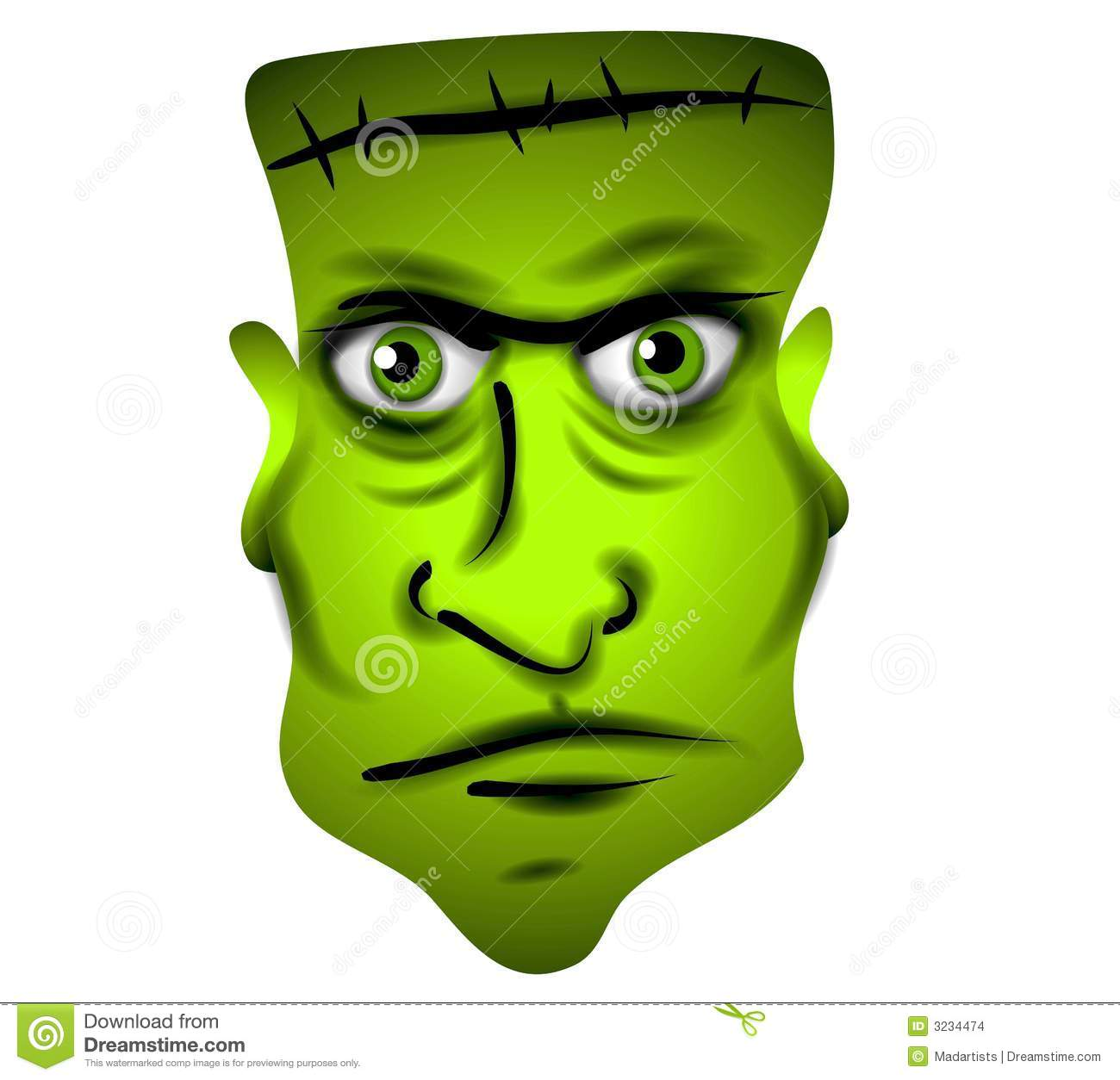 Frankenstein Face Clip Art stock illustration. Illustration of.