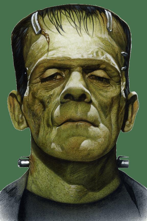 Frankenstein Face Close Up transparent PNG.