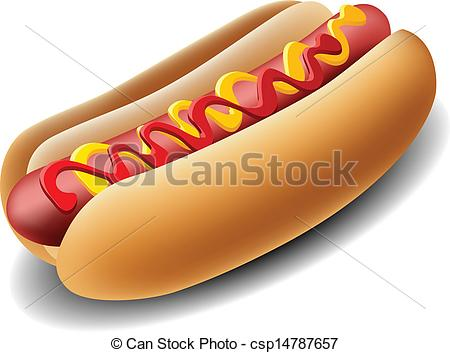 Clipart Vector of Realistic hot dog with ketchup and mustard.