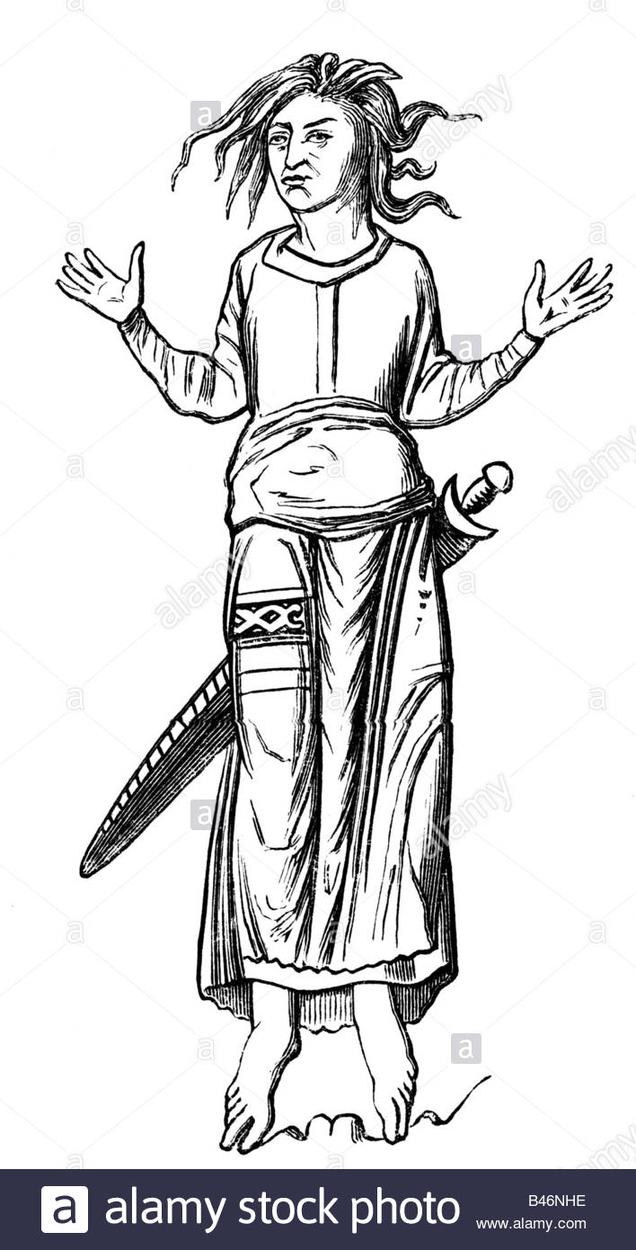 Fashion, Middle Ages, Frankish Empire, Frank, Illustration By H.