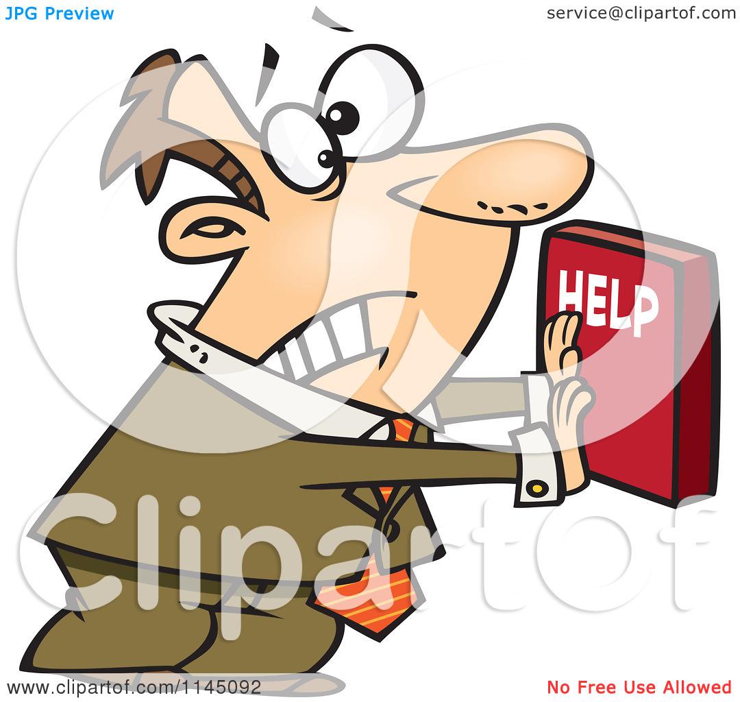 Cartoon of a Frantic Businessman Pushing a Help Button.