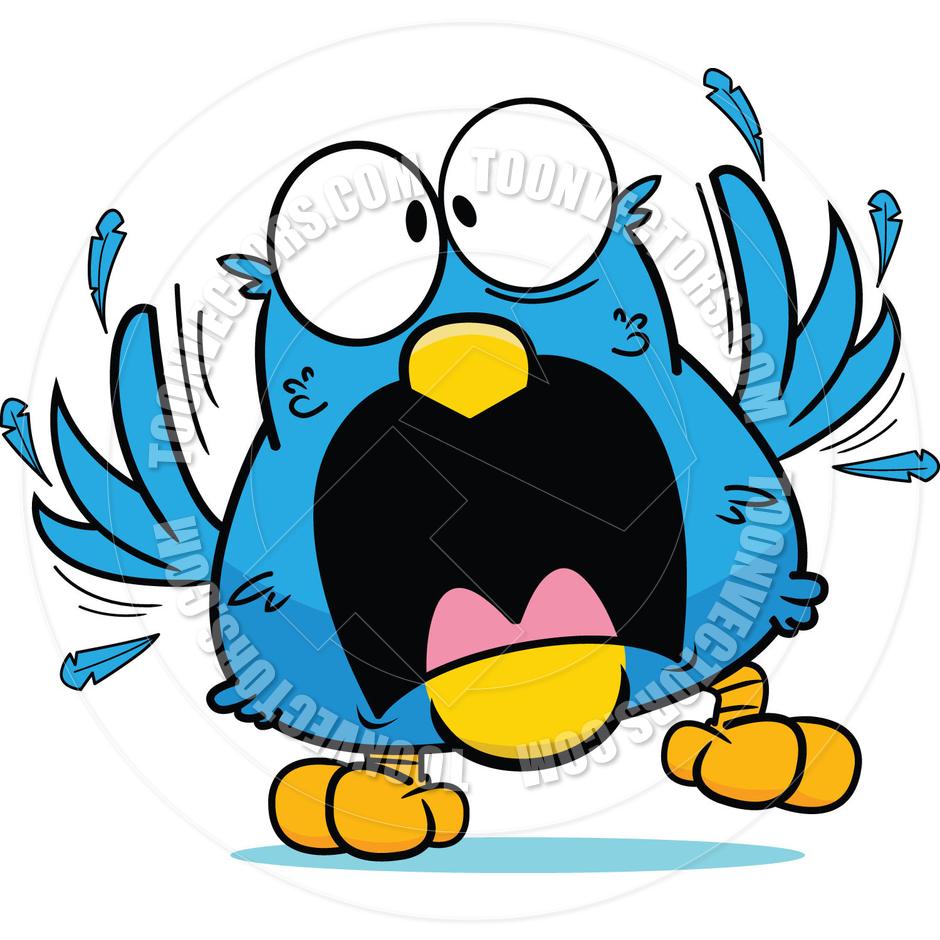 Cartoon Frantic Blue Bird by Toon Garage.