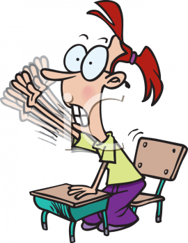 Royalty Free Clip Art Image: School Girl Frantically Raising Her.