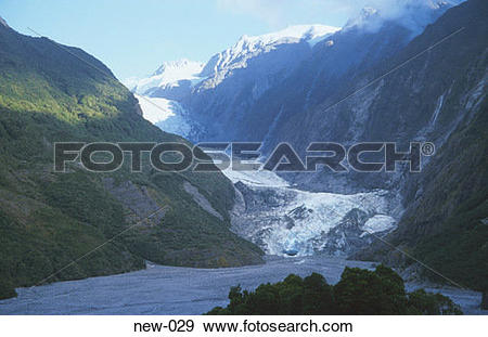 Stock Photograph of Franz Josef Glacier in Mountain Valley New.