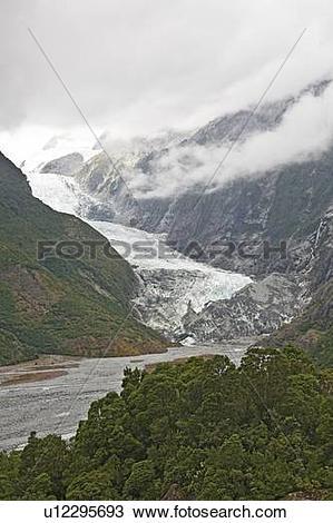 Stock Photo of Franz Josef Glacier, Westland National Park, South.