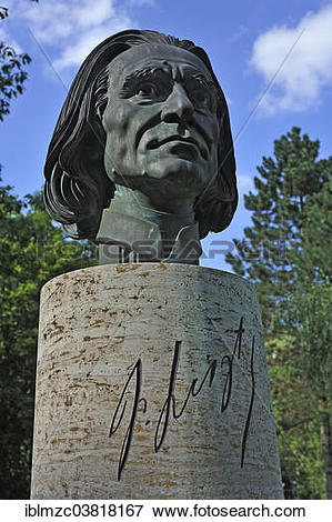 """Picture of """"Bronze bust of the Hungarian composer Franz Liszt, by."""