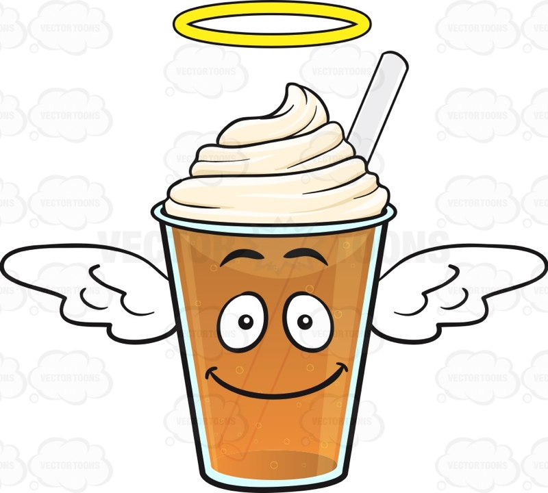 Angel Frappe Emoji Cartoon Clipart.