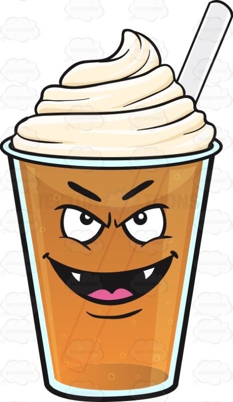 Vampire Frappe Emoji Cartoon Clipart.