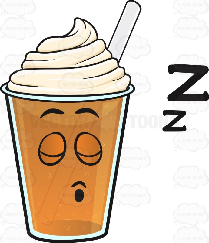 Sleeping Frappe Emoji Cartoon Clipart.