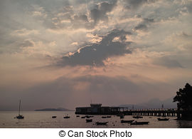 Stock Image of Sunset on the Dock.