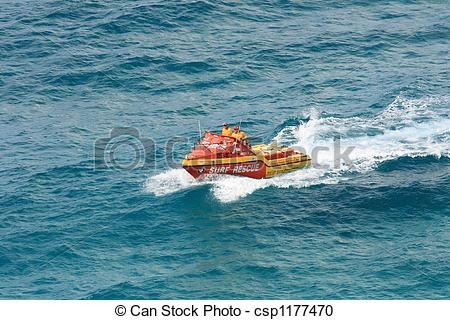 Stock Photography of Surf Rescue Boat.