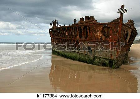 Stock Photo of Maheno Ship Wreck.