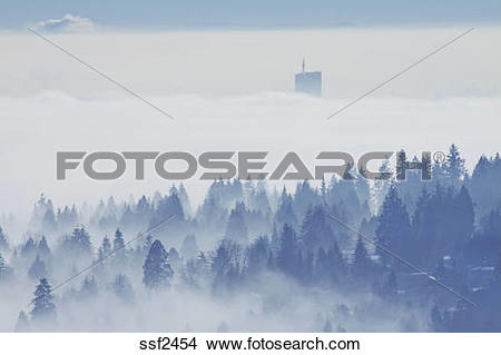 Stock Photo of Coquitlam, Surrey and the Fraser Valley shrouded in.