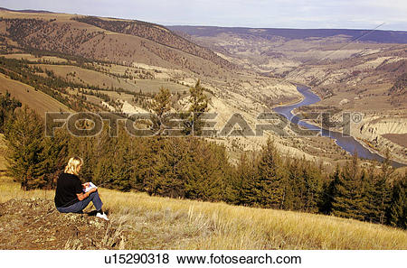 Pictures of Artist sketches Fraser River Canyon in the Chilcotin.