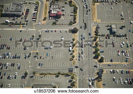 Stock Images of Mall, Parking Lot, Aerial View, Fraser Valley.