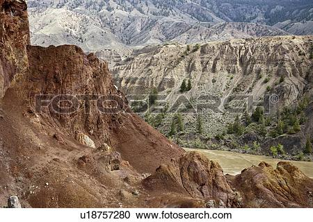 Stock Photography of Geological formation along the Fraser River.