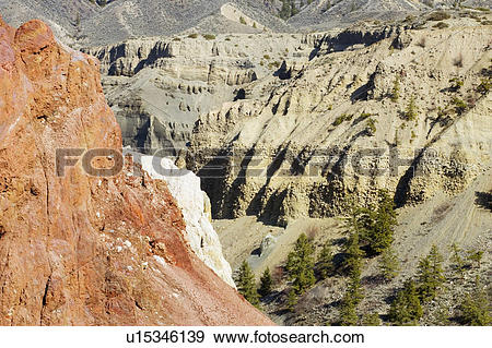 Stock Photograph of Geological features along the Fraser River.