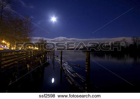 Pictures of Fraser River on a clear night with full moon reflected.