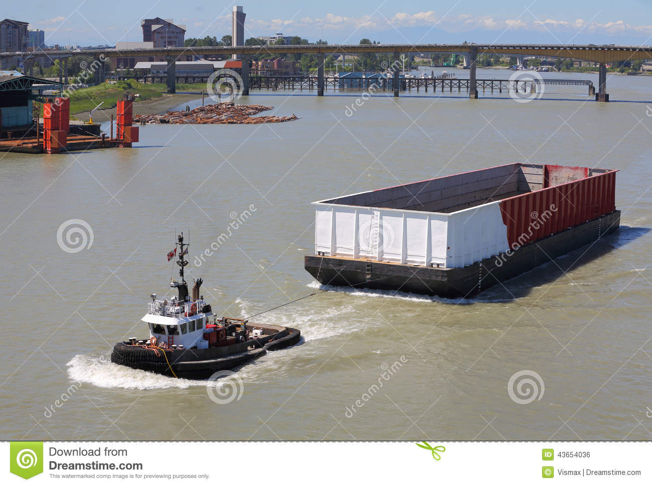 Tugboat And Barge, Fraser River Royalty Free Stock Images.
