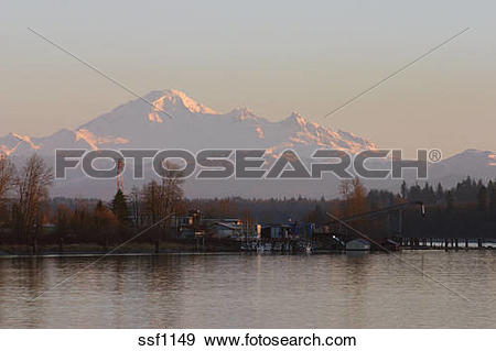 Stock Photograph of Mount Baker and Fraser River from Derby Reach.