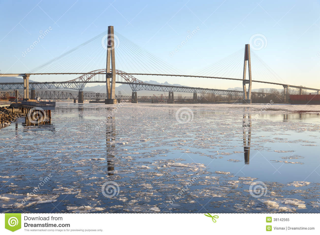 New Westminster, Fraser River Ice Royalty Free Stock Photo.