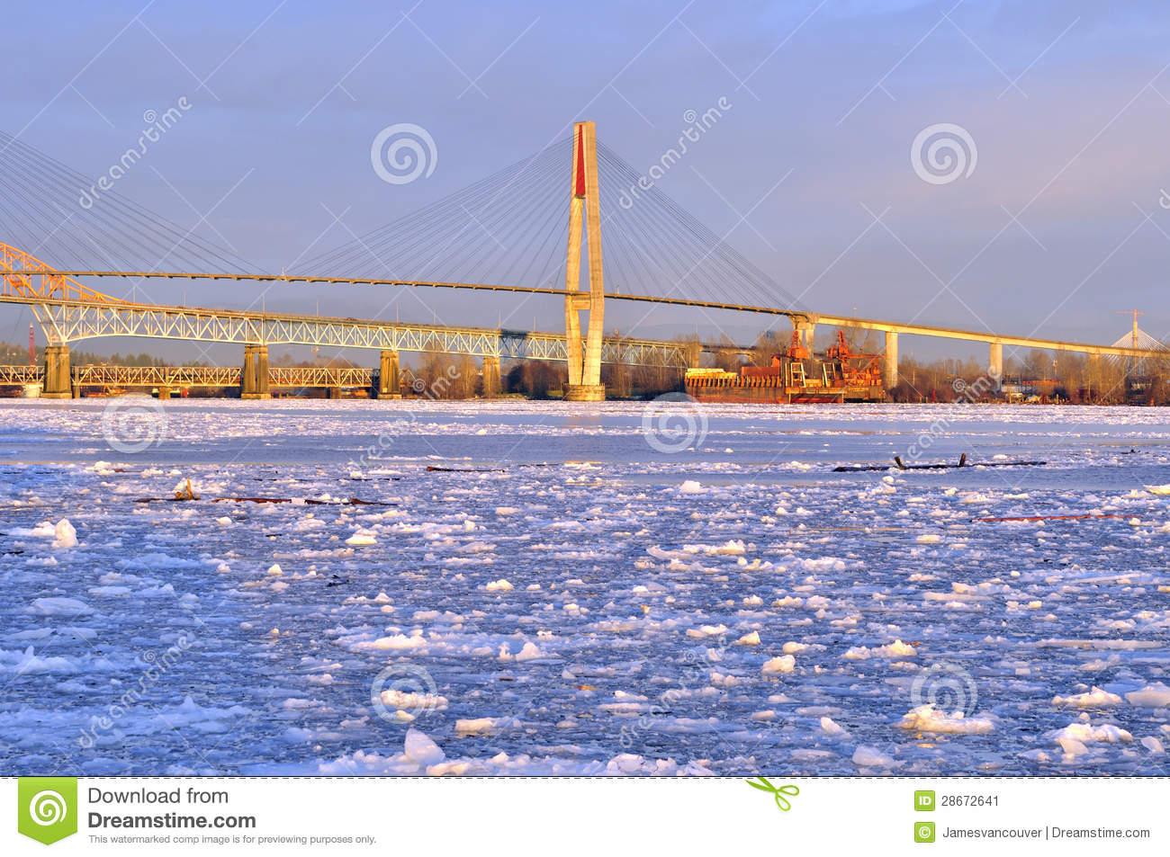 Fraser River Full Of Floating Ice Stock Image.