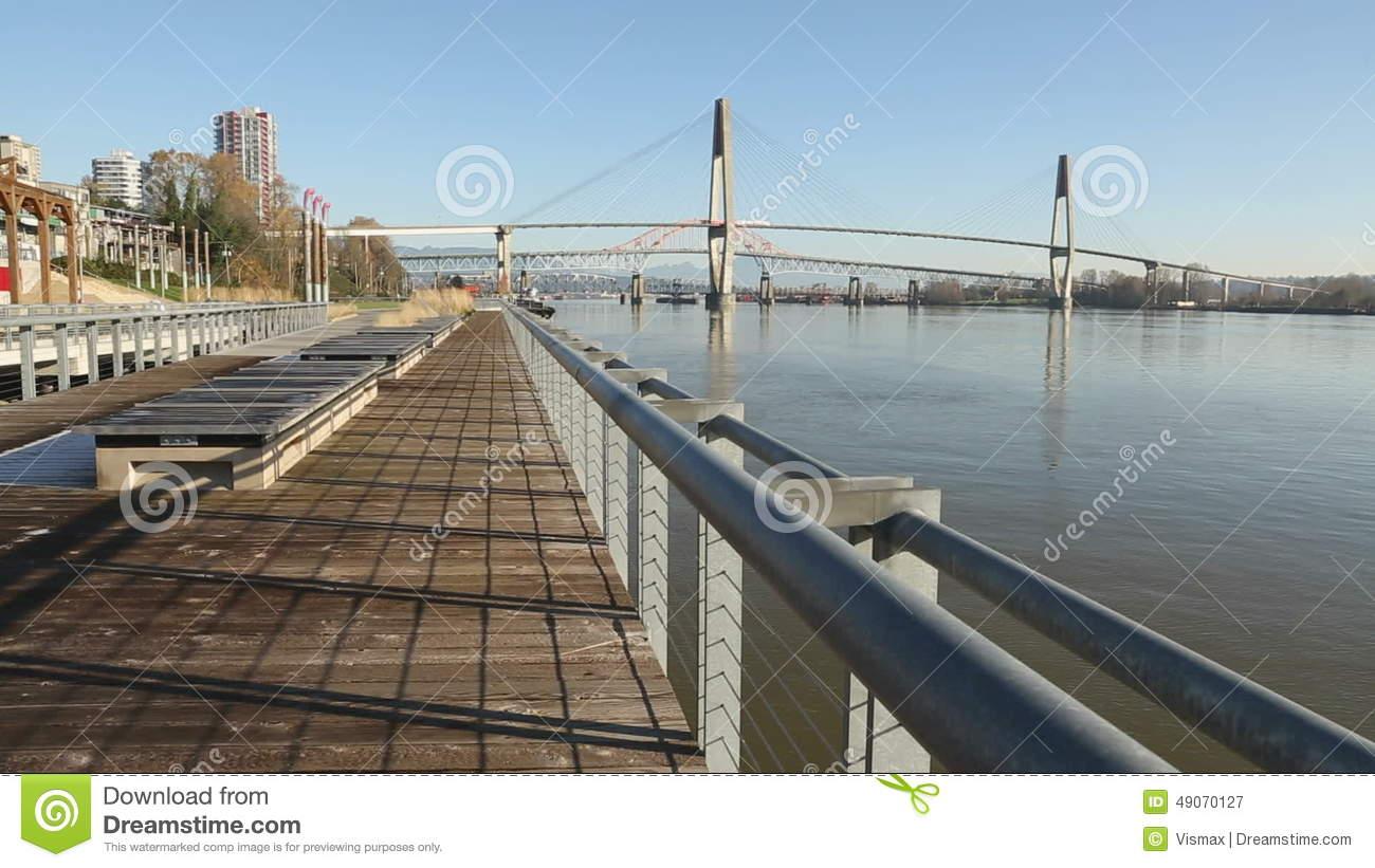 Commuter Rail Bridge, Fraser River, New Westminster Stock Video.