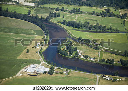 Stock Image of Farm Land, Fraser Valley, British Columbia, Canada.