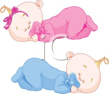 Royalty Free Clipart Image: Fraternal Twin Babies Sleeping.