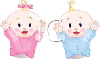 Clipart Illustration of Fraternal Twins.