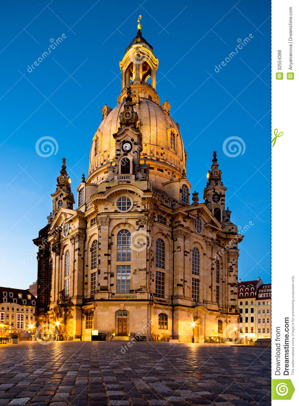 Dresden, Frauenkirche At Night Royalty Free Stock Photos.