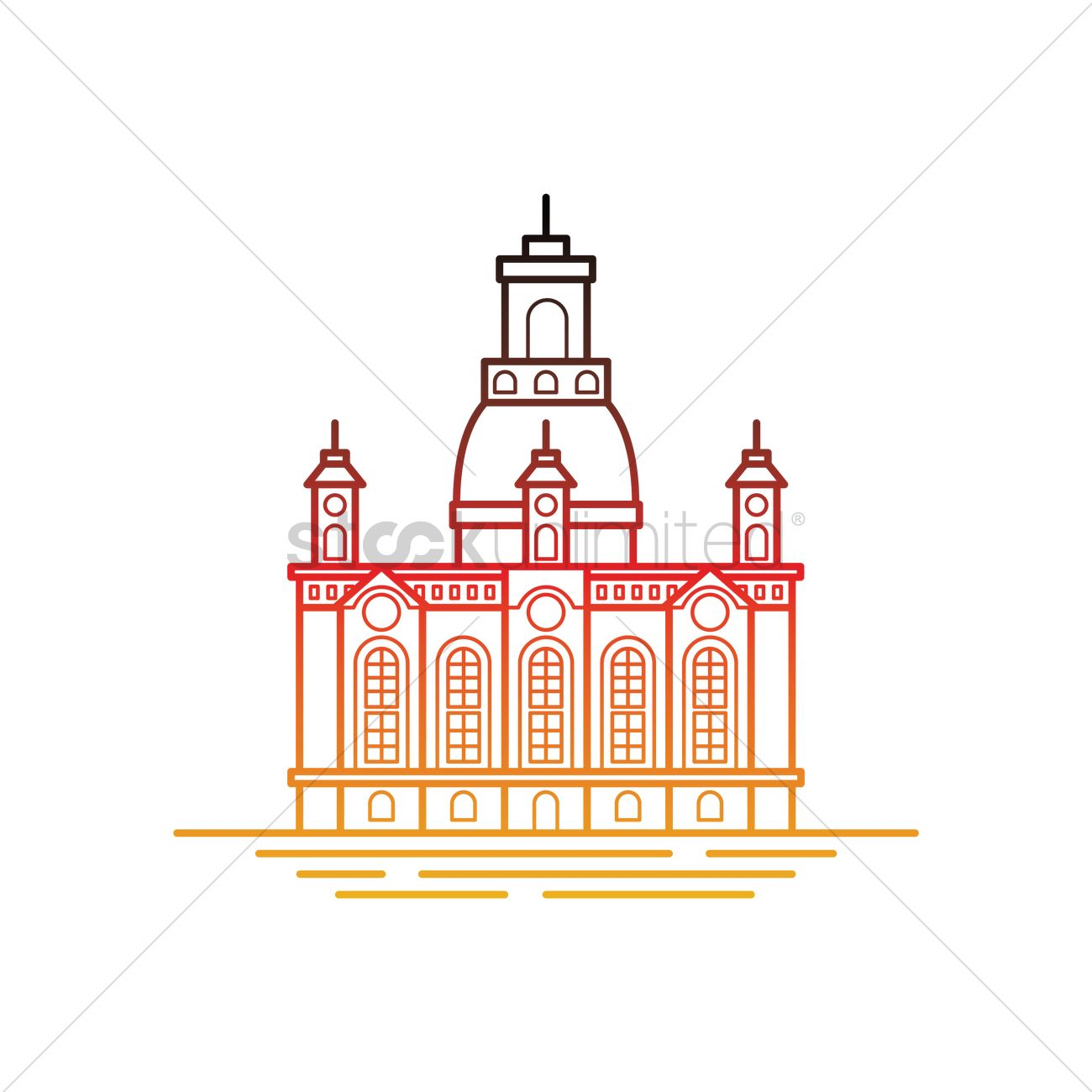 Dresdner frauenkirche Vector Image.