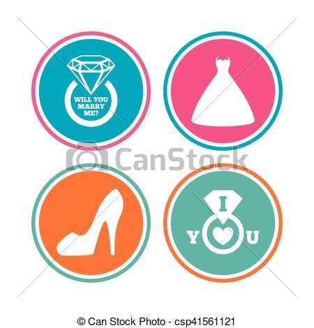 Vektor Illustration von symbol, Frauen, Schuh, wedding, Ikone.