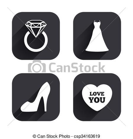 Vektor Clip Art von symbol, Frauen, Schuh, wedding, Ikone, kleiden.