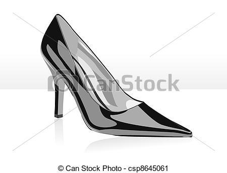 Vektor Clip Art von abbildung, hoch, vektor, Schwarz, Schuh.