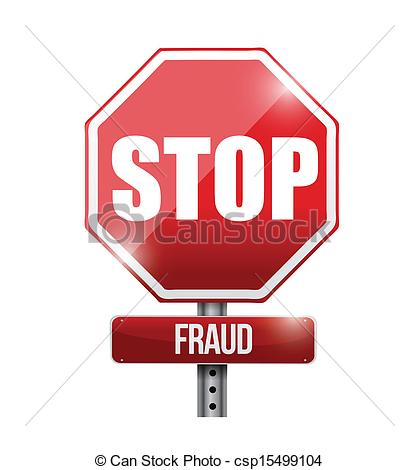 Vector Clipart of stop fraud road sign illustration design over a.