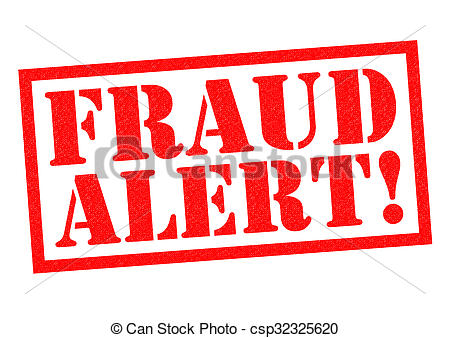 Clip Art of FRAUD ALERT! red Rubber Stamp over a white background.