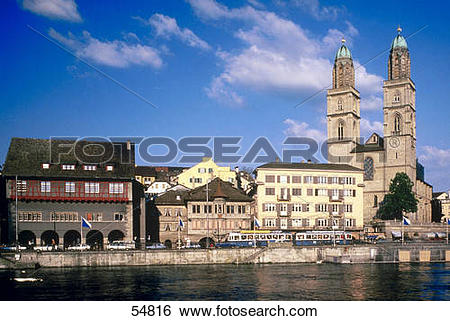 Stock Images of Buildings at waterfront, Fraumunster, Limmat River.