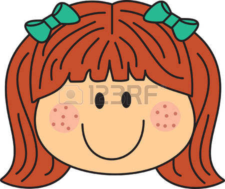 Girl with freckles clipart.