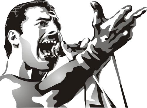Freddie Mercury Figure Stencil Design from Stencil Kingdom.