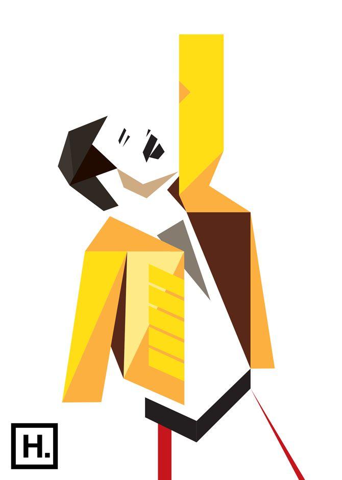 Freddie Mercury vector by hacklindesign.